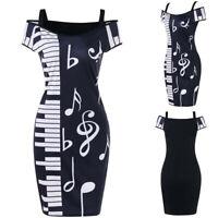 UK Women Music Note Print Bodycon Strapless V-neck Short Sleeve Camisole Dress