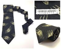 Mens Giorgio Armani Designer Tie Dark Navy Blue Geometric Silk Made in Italy