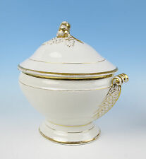 Large Antique Paris Porcelain Gold & White Soup Tureen French Empire Vieux Old