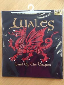 WELSH DRAGON design  BLACK TEE SHIRT, Small adult,  Wales/ Cymru