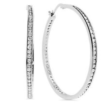 "2"" Large Channel Set Diamonique CZ Hoop Earrings Real 925 Sterling Silver"