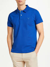 GANT MEN'S CONTRAST COLLAR PIQUE RUGGER POLO SHIRT IN COLLEGE BLUE // BNWT //