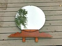 Antique Vtg Mid Century Modern Retro Wood Circle Mirror Portal Art Deco LARGE