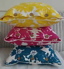 SET OF 3 BRIGHTLY COLOURED TROPICAL LOOK CUSHION COVERS - YELLOW, PINK, TEAL