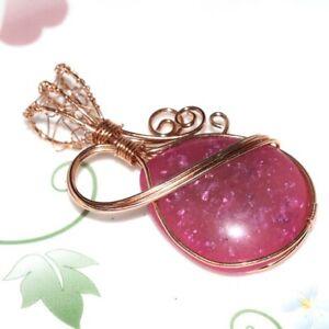 PINK AMBER copper wire Handmade gemstone Pendant CCDD119