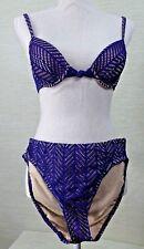 Newport News Bikini SZ 8 Purple Crochet Overlay Lined Swim Suit Nylon Blend