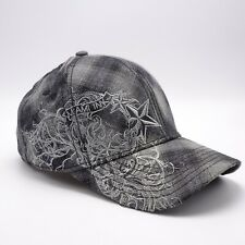 Miami Ink Stretch fit hat Gray Black Plaid cap Embroidered Design