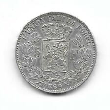 Belgium:1869 5 francs silver crown size King Leopold II VF