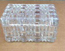 Pressed Glass BLOCK Cigarette Box Or Trinket Holder