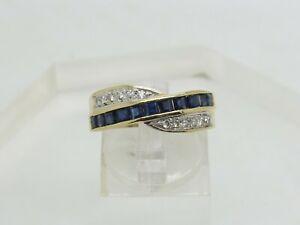 14k Yellow Gold Princess Blue Sapphire Round Diamond Crossover Band Ring Sz 8.75