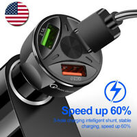 3 Ports USB Car Charger Adapter LED QC 3.0 Fast Charging for IOS Android   USA