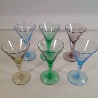"""6 Coloful Martini Glass Shaped Cordial Cocktail Glasses 4"""""""