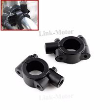 PAIR Black 8mm Mirror Mount Handle Bar Clamp Holder Motorcycle Cruiser Scooter