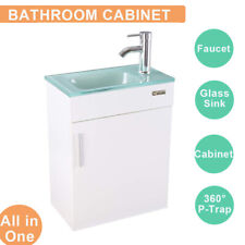"19"" Bathroom Vanity Cabinet Sink Faucet Vessel W/Wood Glass Set White Top Combo"