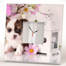 Chihuahua Puppy in Flowers Dog Wall Clock Decor Pet Lovers Art Home Design Gift