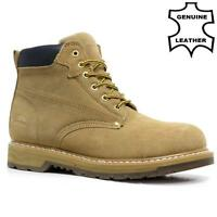 MENS LEATHER DESERT BOOTS GOODYEAR WELTED BIKER WALKING ANKLE HIKING WORK SHOES