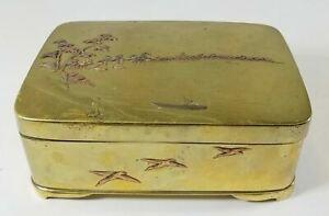 Antique Japanese Mixed Metal Bronze Cigarette Box Landscape Copper