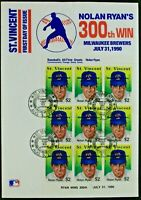 1990 St.Vincent First Day Issue Nolan Ryan 300th Win Stamps Envelope HOF