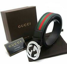 New:/Gucci Men's Black, Red, Green Leather Belt