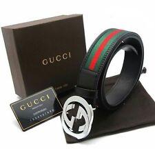 New:/Gucci Men's Black, Red, Green Leather Belt 110COM