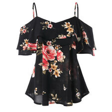 Women Floral Printing Off Shoulder Shirt Sleeveless Vest Tank Sexy Tops Blouse