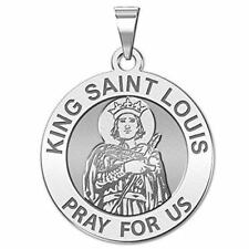 King Saint Louis Religious Medal - 3/4 Inch Size of a Nickel -Sterling Silver