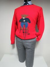 VTG Gant Ivy League USA Bicycle Bear made in Italy silk cotton Sweater M