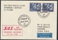 "Arctic,""SAS-Flight over NORTHPOLE ""1958,Cachet ,look Scans !! 25.7-45"