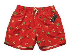 """Polo Ralph Lauren Men's Red Tropical All Over Print Traveler 5.5"""" Swim Trunks"""