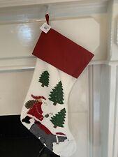 POTTERY BARN Santa POLAR BEAR STOCKING Linen New In Packaging