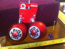 Red Nose Day Huge Red Bauble Earrings Claires Accessories Claire's