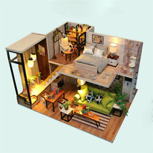 Multi-style 3D Wooden DIY Assembly Mini Doll House Miniature with Furniture