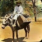 Magic Lantern Glass Slide Photo Man On Burro Donkey Color Brazil