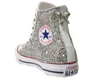 Converse all star Hi bianco optical white  glitter argento artigianali