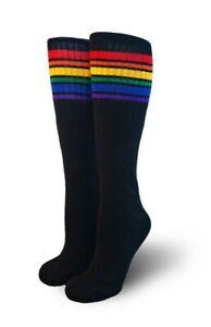 Pride Socks Black Rainbow Kids Tube Socks Brave