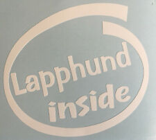 LAPPHUND INSIDE DOG PUP ON BOARD CAR WINDOW STICKER DECAL WHITE ALL COLOURS