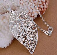 Filigree Leaf  Seasonal Leaves Silver Plated Pendant Necklace