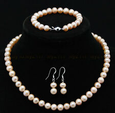 "18"" Natural 8-9mm Pink Freshwater Cultured Pearl Necklace Bracelet earrings Set"