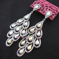 Women's AB Glass Crystal Leaf Teardrop Betsey Johnson Dangle Drop Earrings
