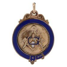 Gold Filled Blue Lodge Vintage Fob Pendant Enamel Master Mason Square & Compass