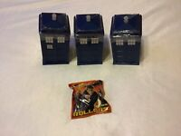 "Three 4"" Doctor Who Tardis With Power Rollers Game & Checklist"