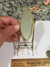 Dollhouse Miniature Collectible Brass Oval Standing Mirror Bathroom Bedroom