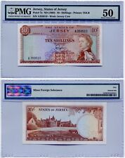 1963 Jersey 10 Shillings Note QEII PMG AU50