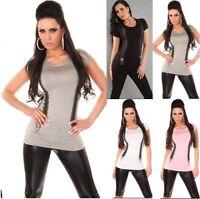 T-Shirt Donna Maglietta  Elasticizzata KOUCLA B051 Tg S/M M/L L/XL