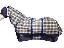AXIOM TARTAN NAVY BELLY HORSE FLYSHEET COMBO RUG - 6' 6 (FREE FLYMASK)