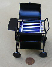 1:12 Scale Metal Barbecue Trolley Dolls House Garden Summer Food Accessory BBQ