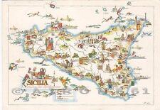 PALERMO SICILIA 02 CARTA GEOGRAFICA Cartolina viaggiata 1961