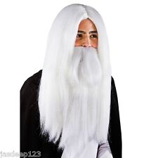 Procedura guidata Bianco Parrucca e Barba Parrucca Costume Halloween Merlino Gandalf