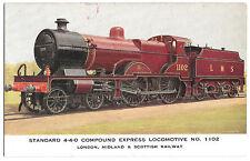 LMS 4-4-0 Compound Express Locomotive No 1102 PPC unposted, M Secretan Signed