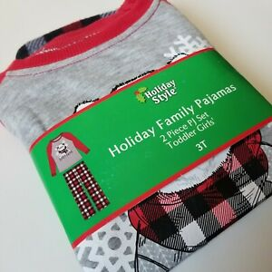 Holiday Style Girls Toddler 3T Baby Bear Family Pajamas New With Tags  Christmas